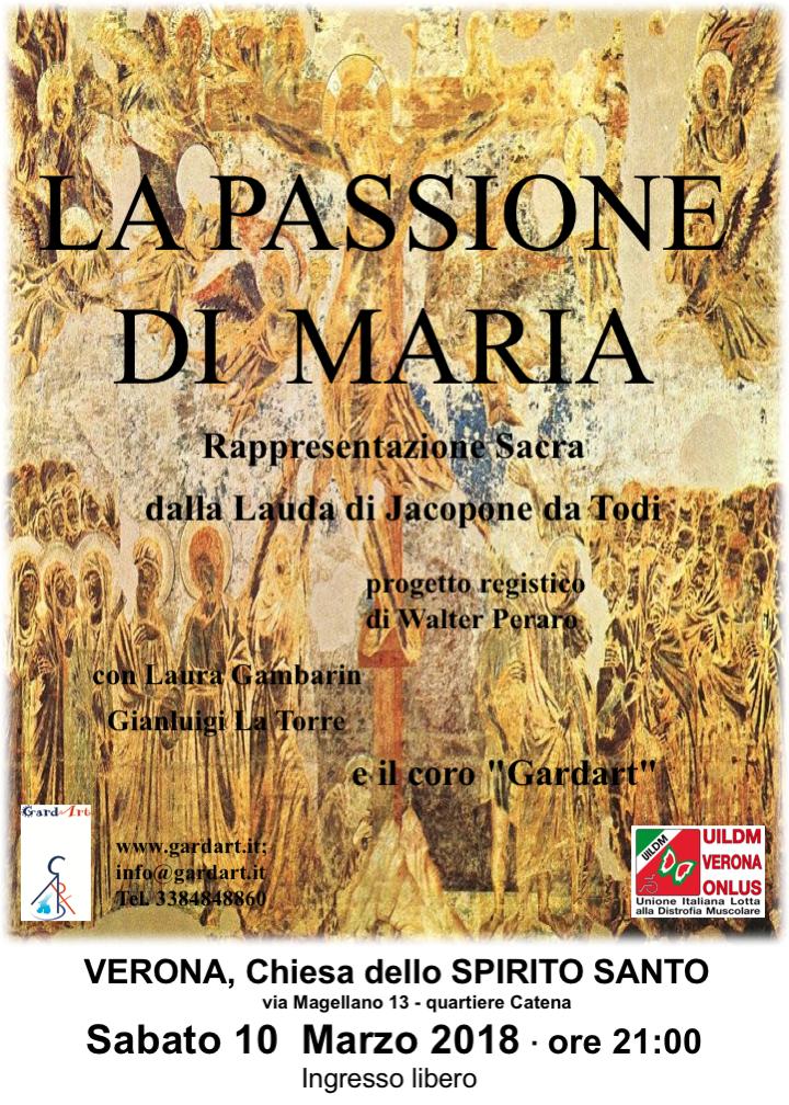 """Sabato 10 Marzo – Spettacolo """"La passione di Maria"""" per raccogliere fondi per UILDM Verona"""