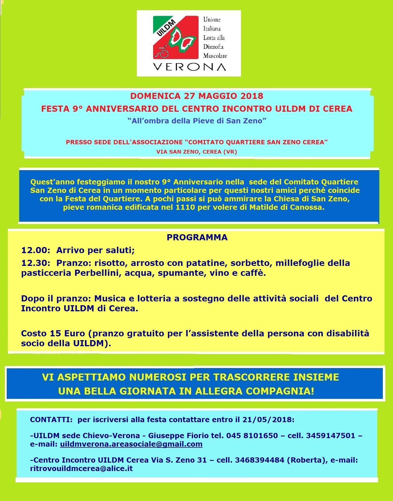 FESTA 9° ANNIVERSARIO DEL CENTRO INCONTRO UILDM DI CEREA